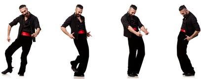 Il ballerino spagnolo in varie pose su bianco Immagine Stock