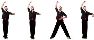 Il ballerino spagnolo in varie pose su bianco Immagine Stock Libera da Diritti