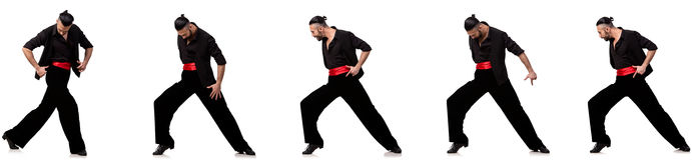 Il ballerino spagnolo in varie pose su bianco Fotografia Stock Libera da Diritti