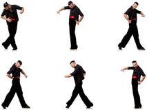 Il ballerino spagnolo in varie pose su bianco Fotografia Stock