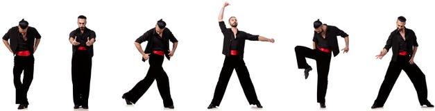 Il ballerino spagnolo in varie pose su bianco Fotografie Stock
