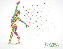 Il ballo astratto di aerobica da dimagrire, l'yoga ed il ballo posa, grafico piano di stile del cerchio di colore illustrazione vettoriale