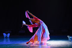 Il ballo classico di sbattimento-cinese delle farfalle del giardino Fotografia Stock Libera da Diritti