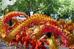 Il ballo del drago dei concorsi Fotografia Stock
