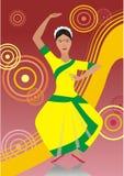 Il ballo della donna indiana Fotografie Stock