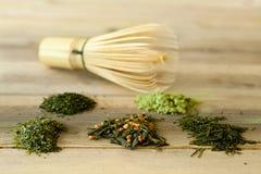 Il bambù sbatte e tè verde Immagini Stock Libere da Diritti