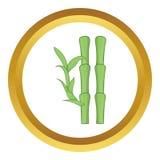 Il bambù verde stacca l'icona dal gambo di vettore Fotografia Stock Libera da Diritti