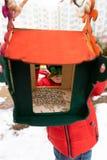 Il bambino alimenta gli uccelli nell'alimentatore nell'inverno Concetto della sorgente immagine stock