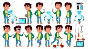 Il bambino asiatico del ragazzo posa il vettore stabilito Assistente del robot di configurazione Bambino della scuola primaria Pe illustrazione vettoriale