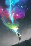 Il bambino che apre una scatola di fantasia con luce variopinta illustrazione vettoriale