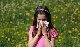 Il bambino con capelli marroni lunghi con l'allergia al polline la soffia Fotografia Stock