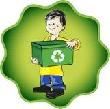 Il bambino con ricicla il cestino Immagine Stock Libera da Diritti