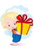 Il bambino con un regalo Fotografie Stock