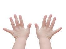 Il bambino consegna il bianco Fotografie Stock Libere da Diritti