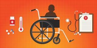 Il bambino del bambino di concetto di paralisi cerebrale si siede in sedia a rotelle illustrazione vettoriale