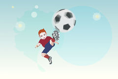 Il bambino del ragazzo dell'illustrazione dell'acquerello di vettore mette la palla Immagini Stock