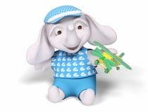 Il bambino dell'elefante che gioca con il giocattolo 3d dell'aeroplano rende Fotografie Stock