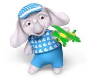 Il bambino dell'elefante che gioca con il giocattolo 3d dell'aeroplano rende Immagine Stock