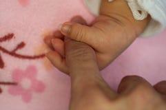 Il bambino dell'infante neonato sta tenendo per la prima volta il nuovo dito del ` s del padre neonati che tengono il dito del ge Fotografia Stock Libera da Diritti