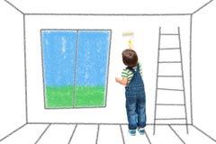Il bambino dipinge la parete immagini stock libere da diritti