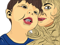 Il bambino e sua madre che sembrano fuori dietro Fotografia Stock