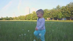 Il bambino felice funziona alla macchina fotografica sull'erba verde e sul sorridere Il ragazzino intraprende i suoi primi punti  stock footage