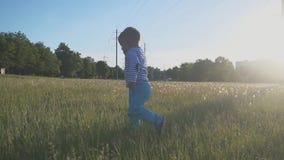 Il bambino felice funziona sull'erba verde e sul sorridere Il ragazzino intraprende i suoi primi punti su un'erba fresca in un pa archivi video