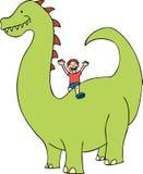Il bambino guida un dinosauro Immagini Stock Libere da Diritti
