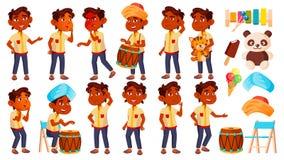 Il bambino indiano di asilo del ragazzo posa il vettore stabilito Piccolo bambino Giocattolo divertente lifestyle Per la pubblici royalty illustrazione gratis