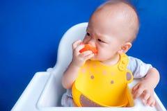 Il bambino mangia il pomodoro Fotografie Stock