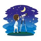Il bambino osserva le stelle in un telescopio Immagini Stock