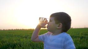 Il bambino piccolo ad erba tiene in vetri di mani e beve l'acqua minerale, bambino che si siede nel campo verde, acqua potabile d archivi video