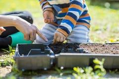 Il bambino piccolo che aiuta sua madre fa la piantatura immagine stock libera da diritti