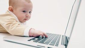 Il bambino serio lavora ad un computer portatile archivi video