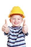 Il bambino si è vestito in su come constructuon fotografie stock libere da diritti
