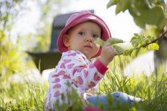 Il bambino si siede sull'erba ed aderisce ad un ramoscello Immagini Stock Libere da Diritti