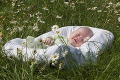 Il bambino si trova in una culla fotografie stock libere da diritti