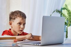Il bambino sta cercando le informazioni su Internet tramite un computer portatile autodidattica a casa, facendo compito Intento l fotografia stock