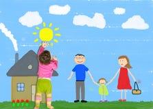 Il bambino sta disegnando la famiglia felice Fotografie Stock Libere da Diritti