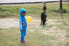 Il bambino sta giocando con una palla gialla Fotografie Stock Libere da Diritti