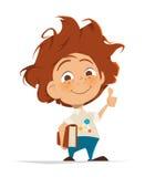 Il bambino sveglio astuto con il libro sfoglia il dito su illustrazione di stock