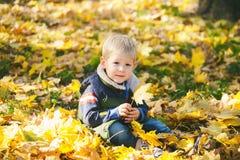 Il bambino sveglio che gioca con l'arancia di autunno lascia in parco fotografia stock