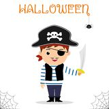 Il bambino sveglio si è vestito in un costume del pirata in un cappello e con una spada che celebra ad un partito di Halloween is royalty illustrazione gratis