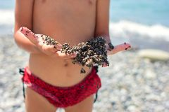 Il bambino versa la sabbia tramite le dita Fotografia Stock Libera da Diritti