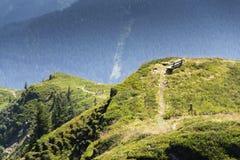 Il banco di legno con le montagne idilliache delle alpi dell'estate abbellisce in Austria Immagini Stock