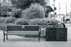 Il banco di Main Street con rifiuti e recyle può chiudersi vicino in bianco e nero immagine stock