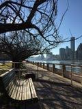 Il banco in una zona del parco con l'orizzonte di Manhattan ai precedenti Fotografia Stock