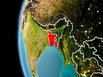 Il Bangladesh da spazio nella sera Fotografie Stock Libere da Diritti