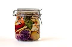 Il barattolo Brined Lacto-ha fermentato i sottaceti Fotografia Stock