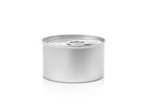 Il barattolo di latta per conserva il prodotto isolato su bianco Fotografia Stock